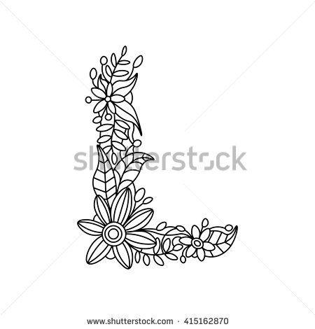 Floral Alphabet Letter Coloring Book For Adults Raster Illustration