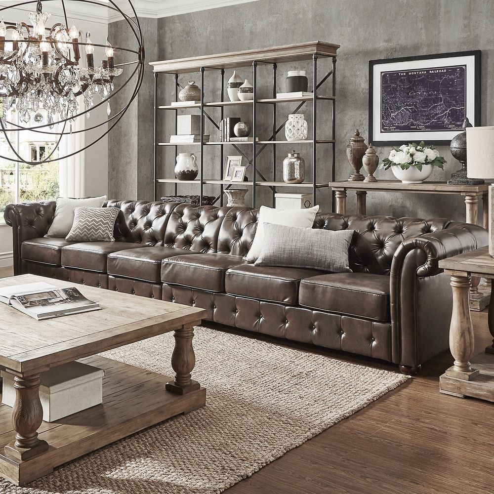 Knightsbridge Bonded Leather Oversize Extra Long Tufted Chesterfield Sofa  By INSPIRE Q Artisan | Overstock.