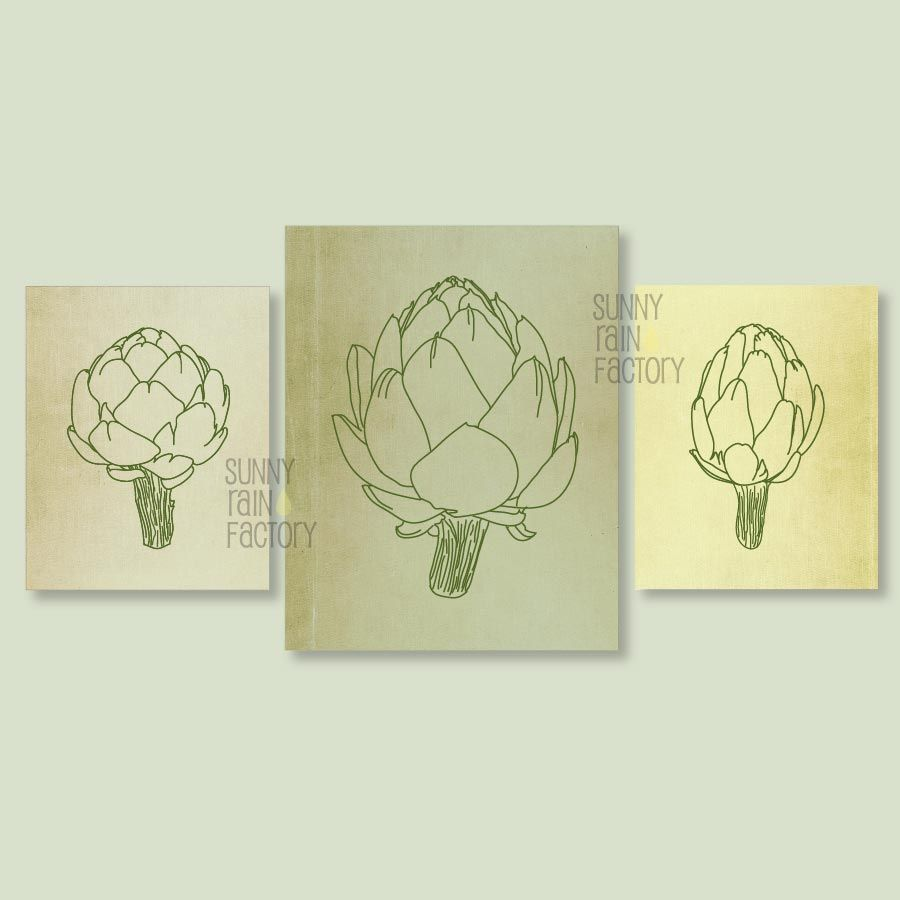 Printable kitchen wall art - set of 3 prints, Artichoke printable ...
