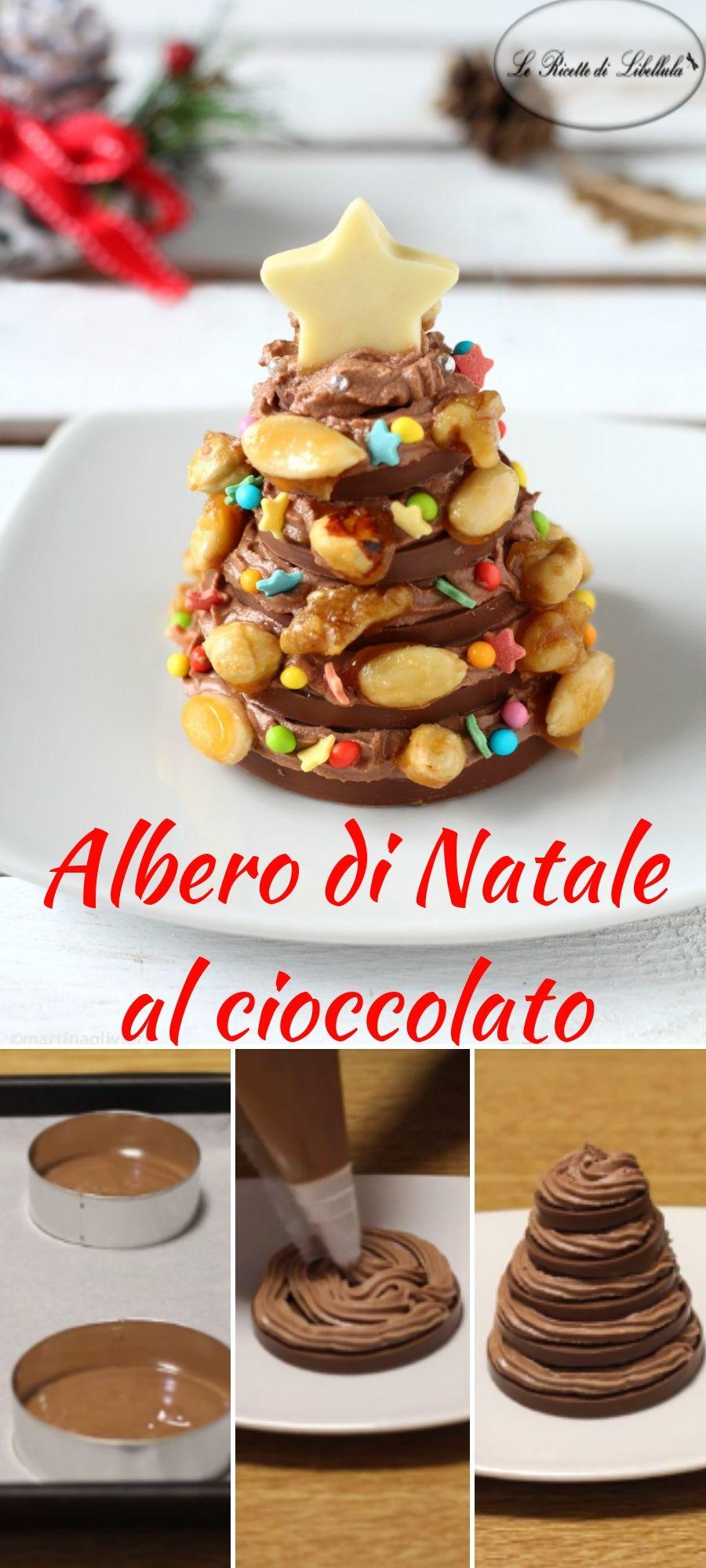 Dolci Natalizi Al Cioccolato.L Albero Di Natale Al Cioccolato Con Frutta Secca E Un
