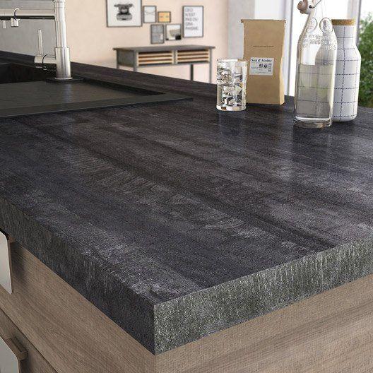 Plan De Travail Stratifie New Vintage Wood Noir Mat L 315 X P 65 Cm Ep 38 Mm Plan De Travail Plan De Travail Stratifie Peinture Bois Exterieur
