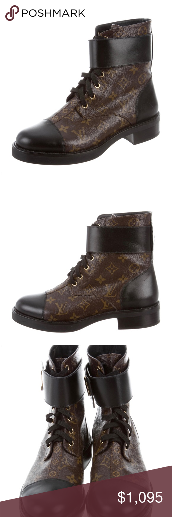 Louis Vuitton Brown Logo Wonderland Combat Boots Here is a pre-owned pair of LV Wonderland Ranger Combat boots in brown logo w/ gold hardware. These are in Great condition, minor signs of use & minor scuffs on soles. Plenty of life left. Comes w/ shoe bag. Date code is... NL 0137 40 M. These are hard to find & sold out. These are a size 40, but fit like a 9; they run 1 size small. Perfect w/ any outfit. Louis Vuitton Shoes Combat & Moto Boots