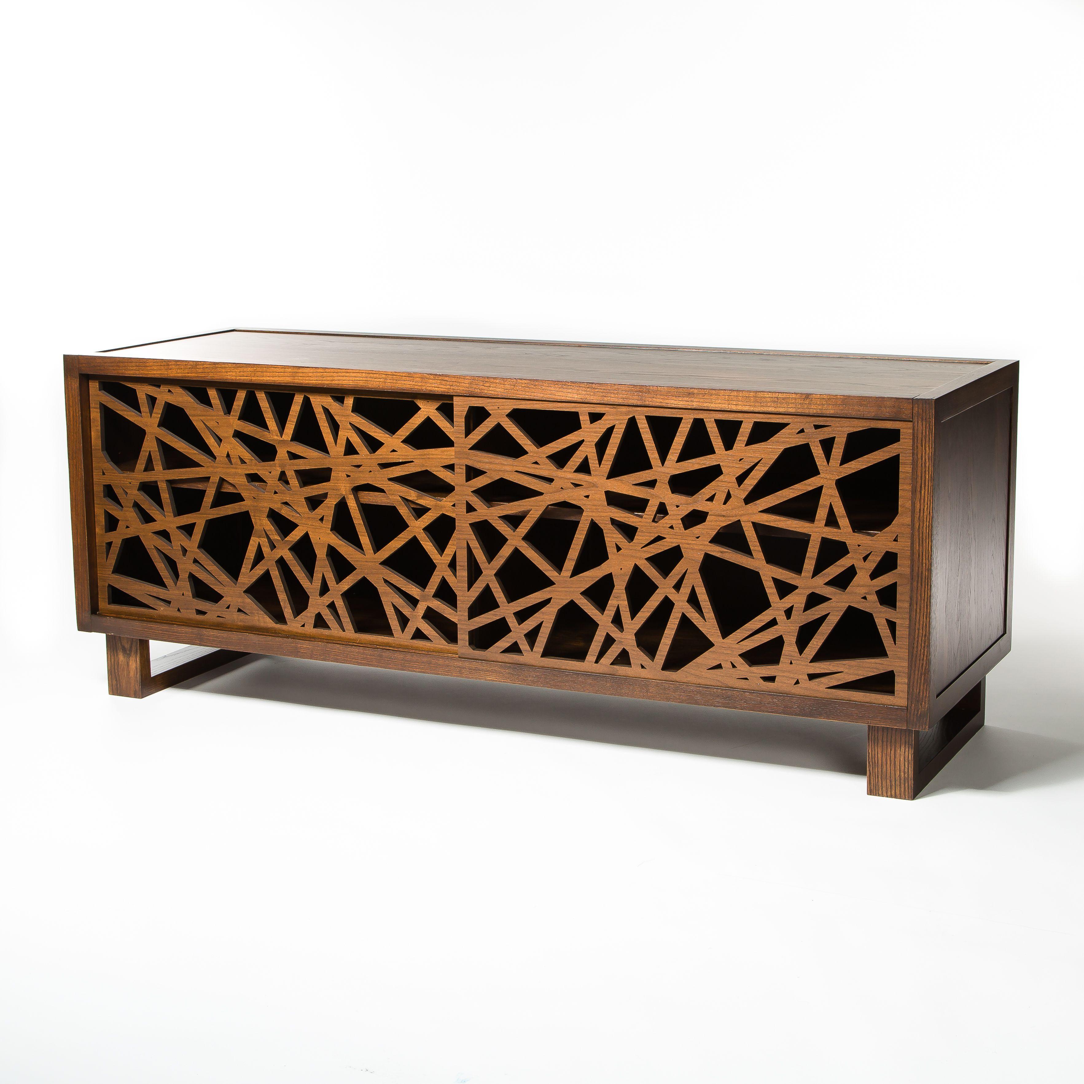 Modern credenza media cabinet featuring laser cut door design