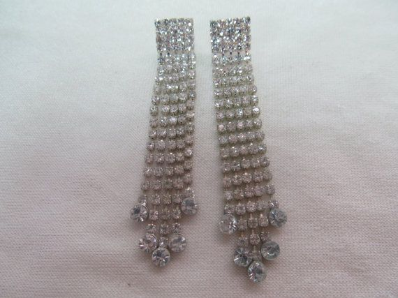 Long Dangling Rhinestone Earrings Item 151 by KittyCatShop on Etsy