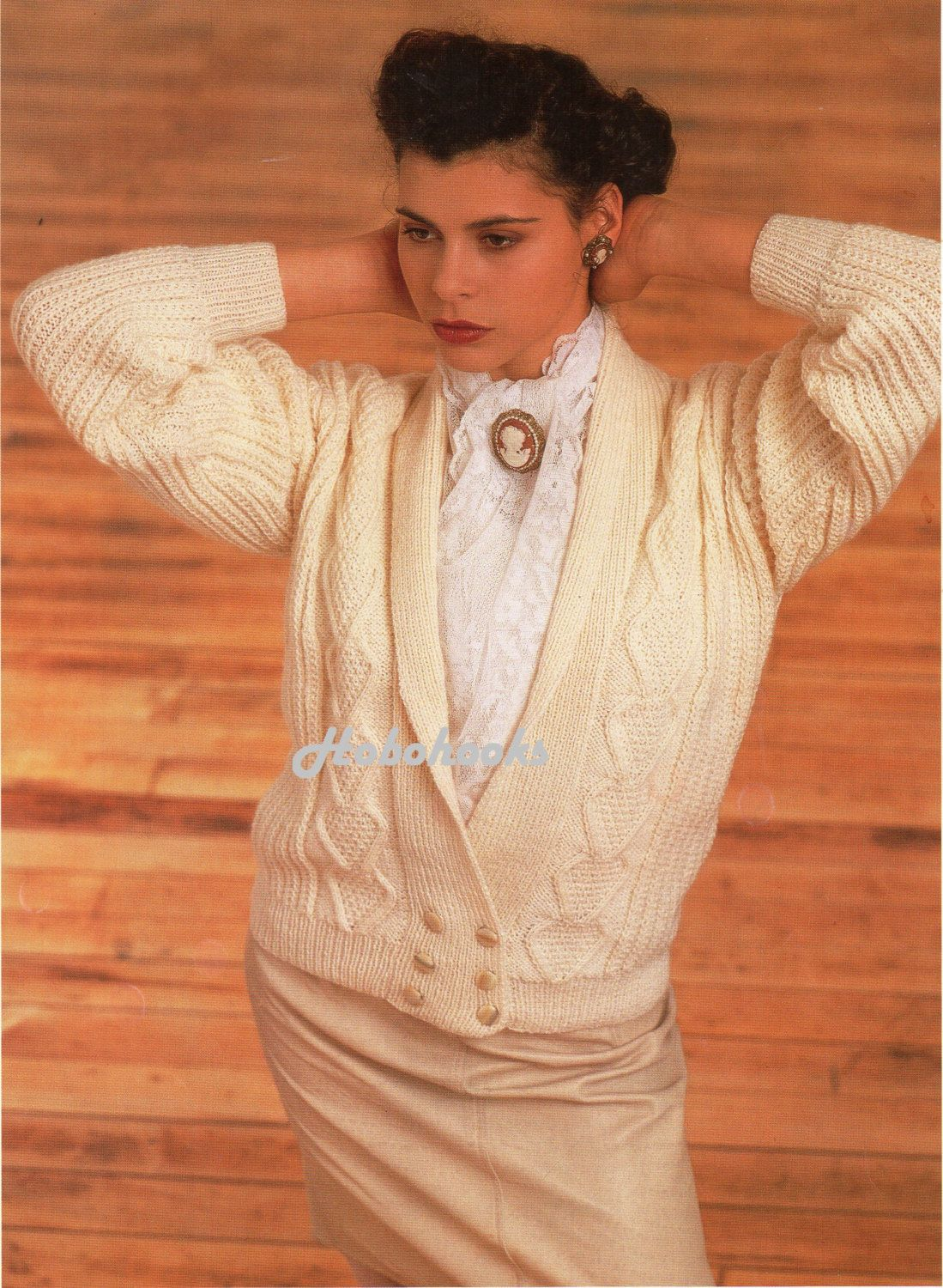 womens cable cardigan with shawl collar knitting by Hobohooks