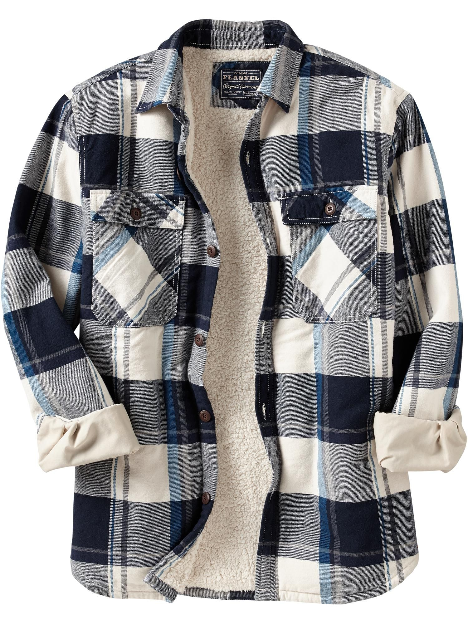 Flannel jacket with wool lining  sherpa lined shirt for dad  Roupa  Pinterest  Dads Clothes and