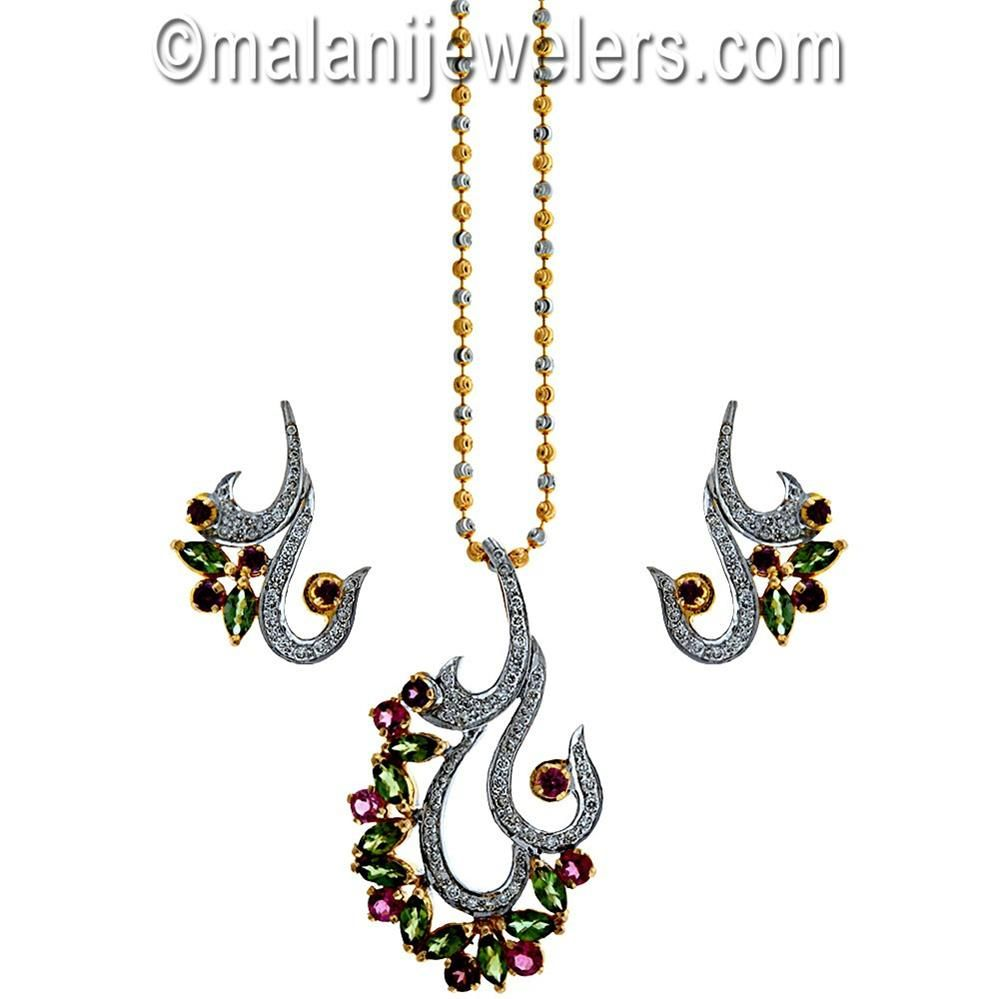 Diamond sparkling tourmaline pendant set karat gold sku
