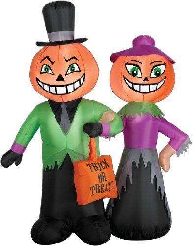 Gemmy Inflatable Halloween Pumpkin Head Couple Scene 4Feet by Gemmy - halloween inflatable decorations
