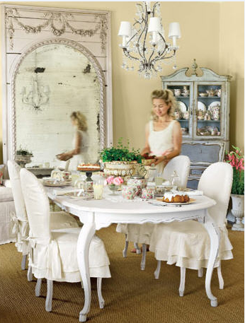 Slip Covered Dining Chairs-French Country with Beautiful Venetian Mirror_Interior designer Lauren Ross via cotedetexas.blogspot.com