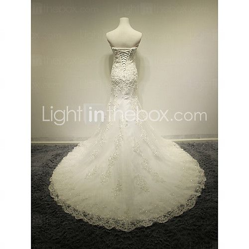 Trumpet / Mermaid Wedding Dress Court Train Sweetheart Tulle with Appliques / Beading 2016 - $179.99