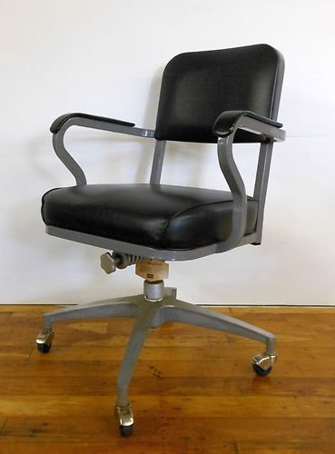 Vintage 1960 S Winfield Industrial Office Chair Retro Wheels Black
