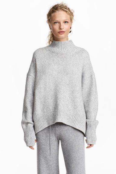 e9961ffeaa70 Knitted polo-neck jumper - Light grey marl - Ladies