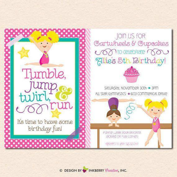Girls Gymnastics Birthday Party Invitation Cupcakes Cartwheels