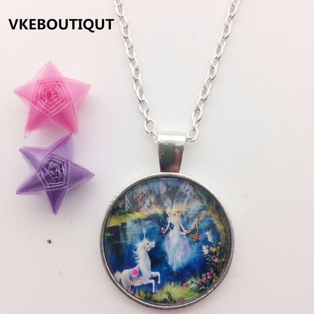 fashion necklace alloy fairy tale paradise glass pendant