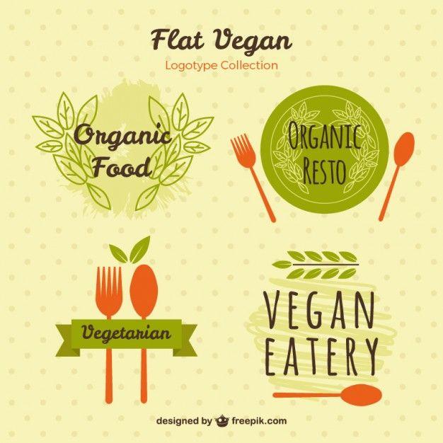 pintados à mão logotipos para comida vegetariana Vetor grátis