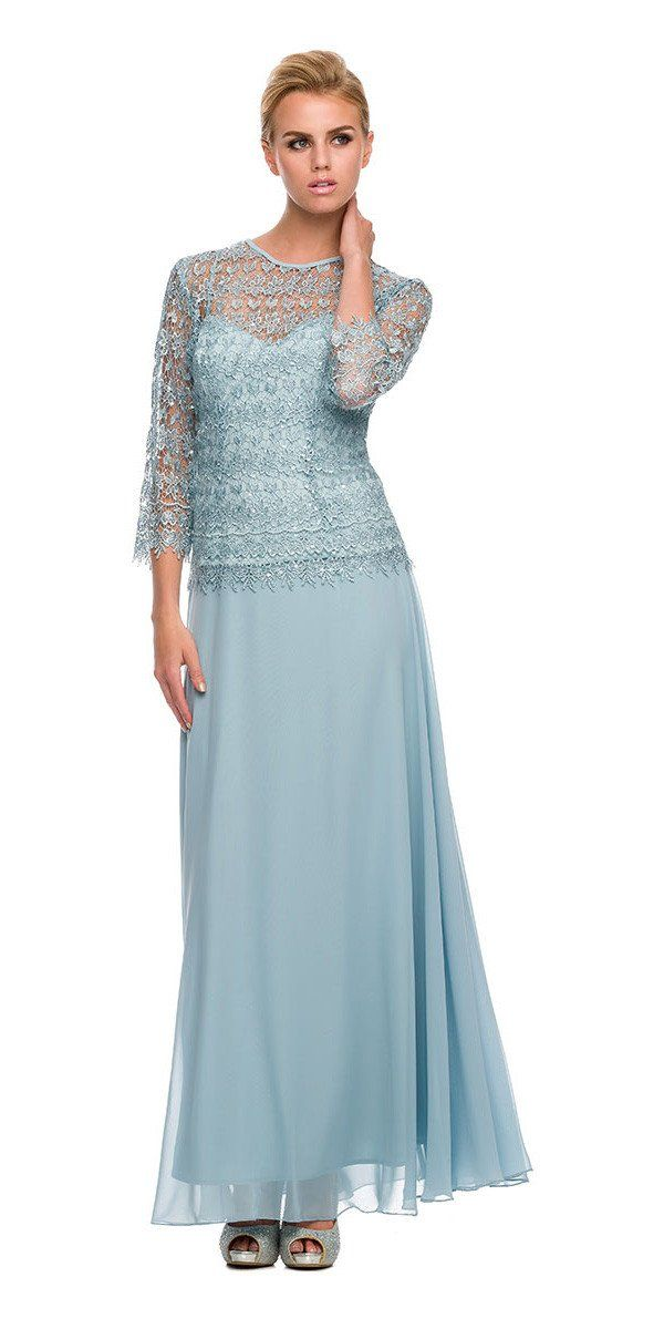 1f69c967742 Plus Size Chiffon Lace Mother Bride Dress Light Blue – DiscountDressShop
