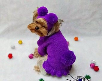 Items similar to puppy clothes dog dress large pet costume dog crochet dog clothes small dog sweater yorkie clothes yorkie dog clothes girl dog clothes on Etsy #dogcrochetedsweaters
