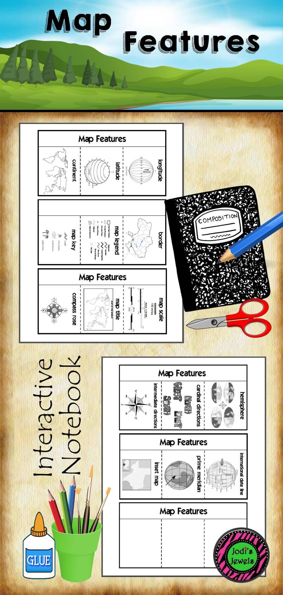 Map Features Interactive Notebook | school | Middle school