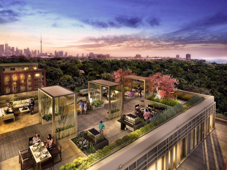 Rendering Of Rooftop Patio Amenity Area At HighPark Condos Image - Rooftop patios