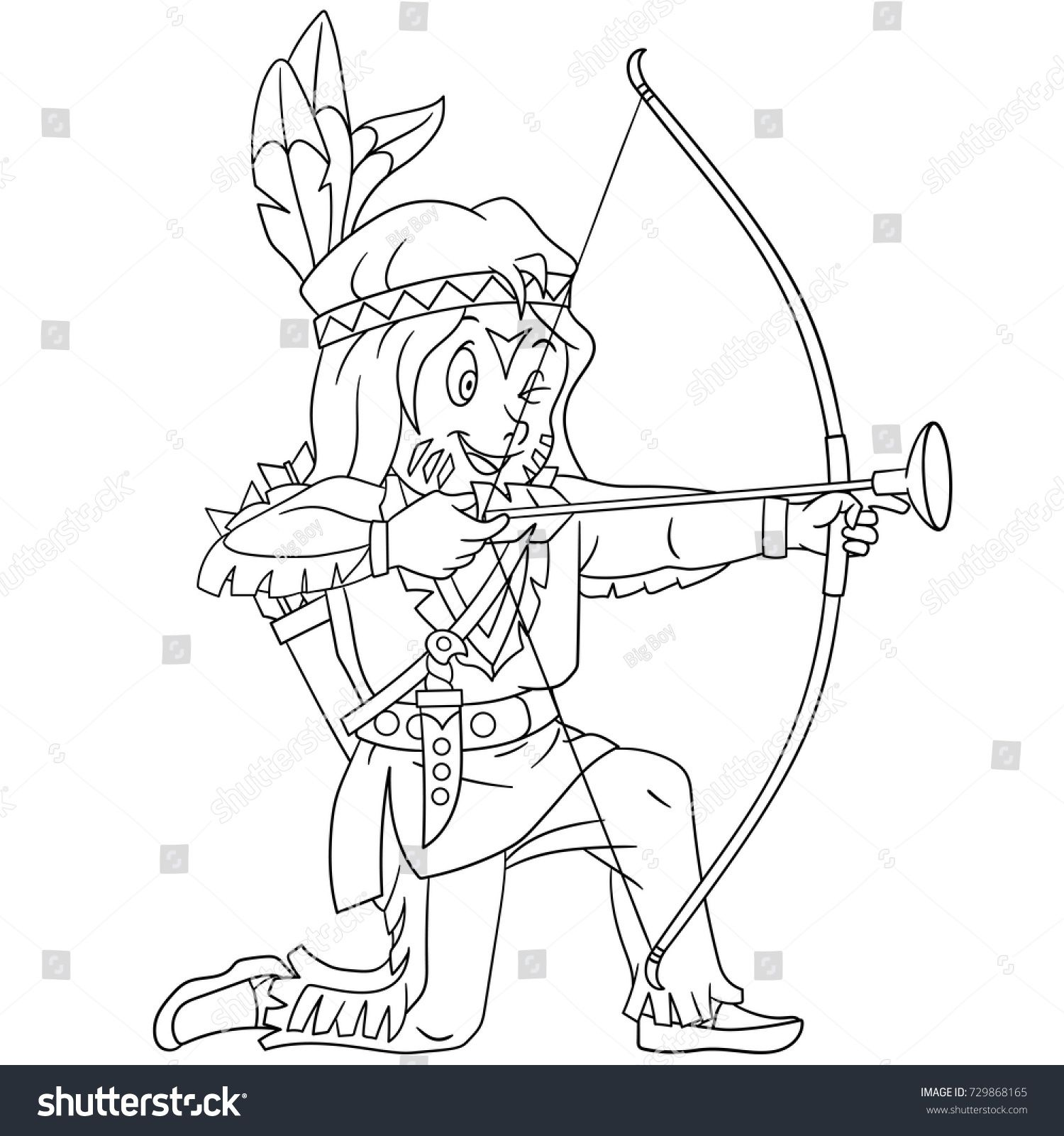 Coloring page of cartoon native american indian boy with bow and ...