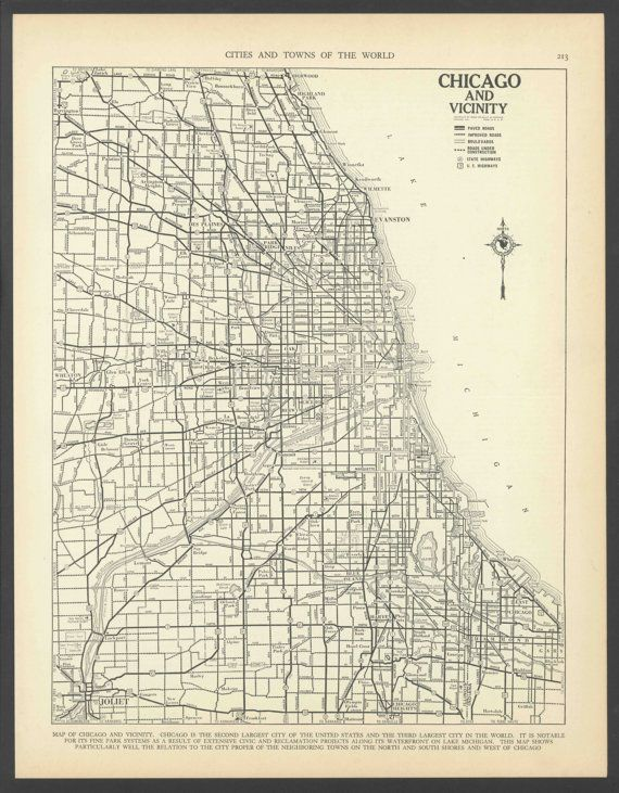 Vintage Map of Chicago Illinois From 1937 Original   Favorite Places ...