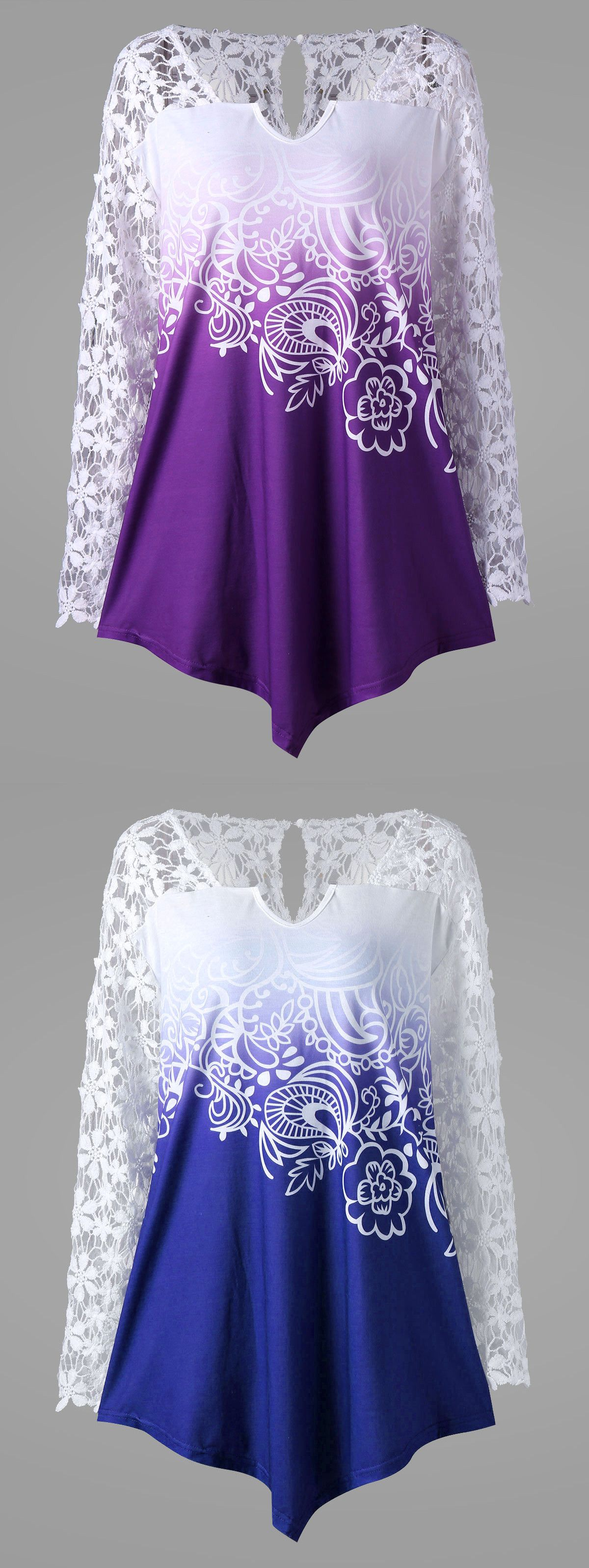 Plus size lace yoke ombre top purple xl ombre clothes and