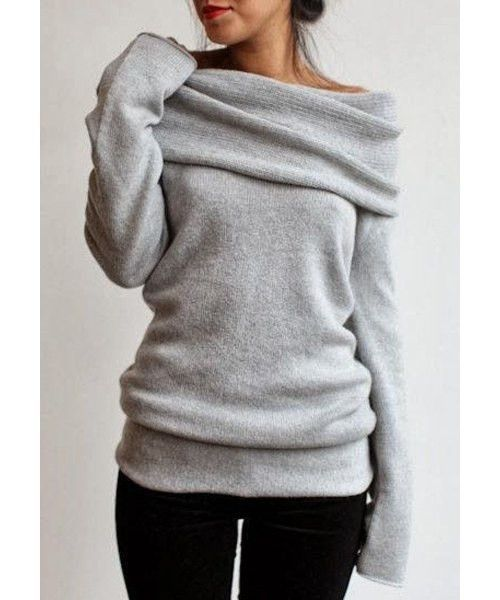 Cozy Gray Knit Sweater Slash Collar Long Sleeve Pullover ...