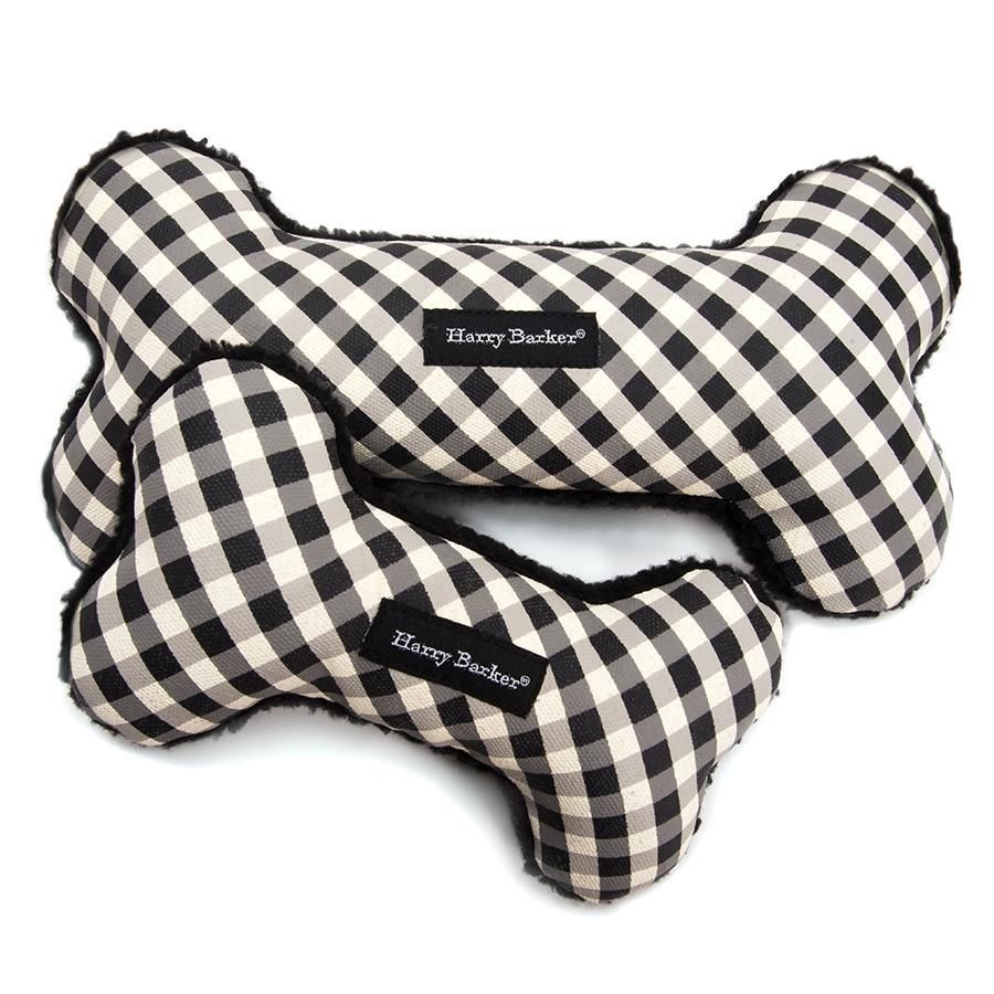 Gingham Bone Canvas Toy Pom Dog Boy Dog Canvas
