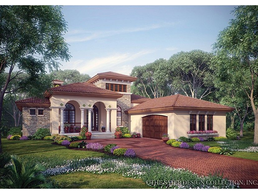 Mediterranean Style House Plan 3 Beds 2 5 Baths 2191 Sq Ft Plan 930 12 Mediterranean Style House Plans Mediterranean House Plans Mediterranean Homes