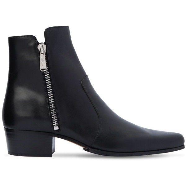 dd7dc32f48ff Balmain Men 35mm Anthos Zip Leather Ankle Boots ( 1