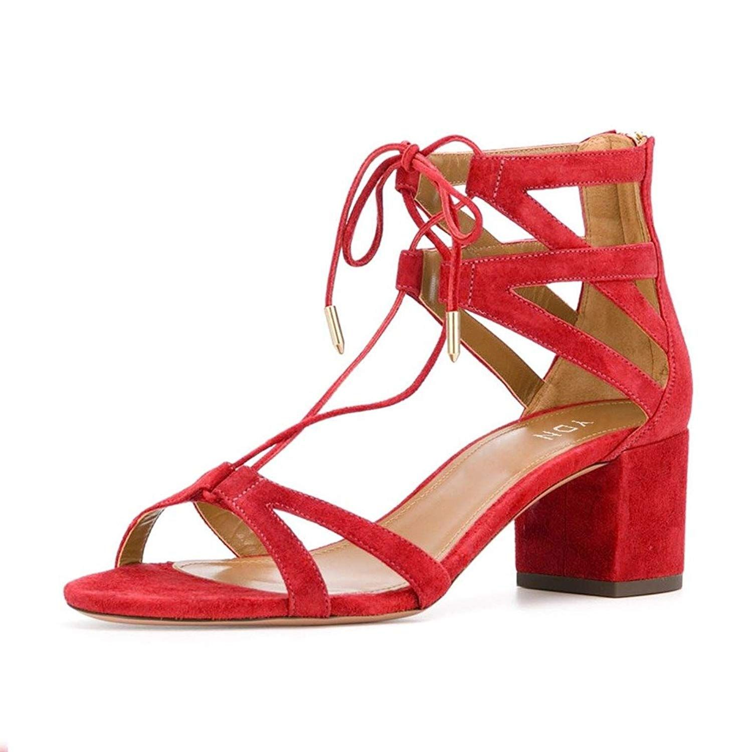 red strappy sandals low heel
