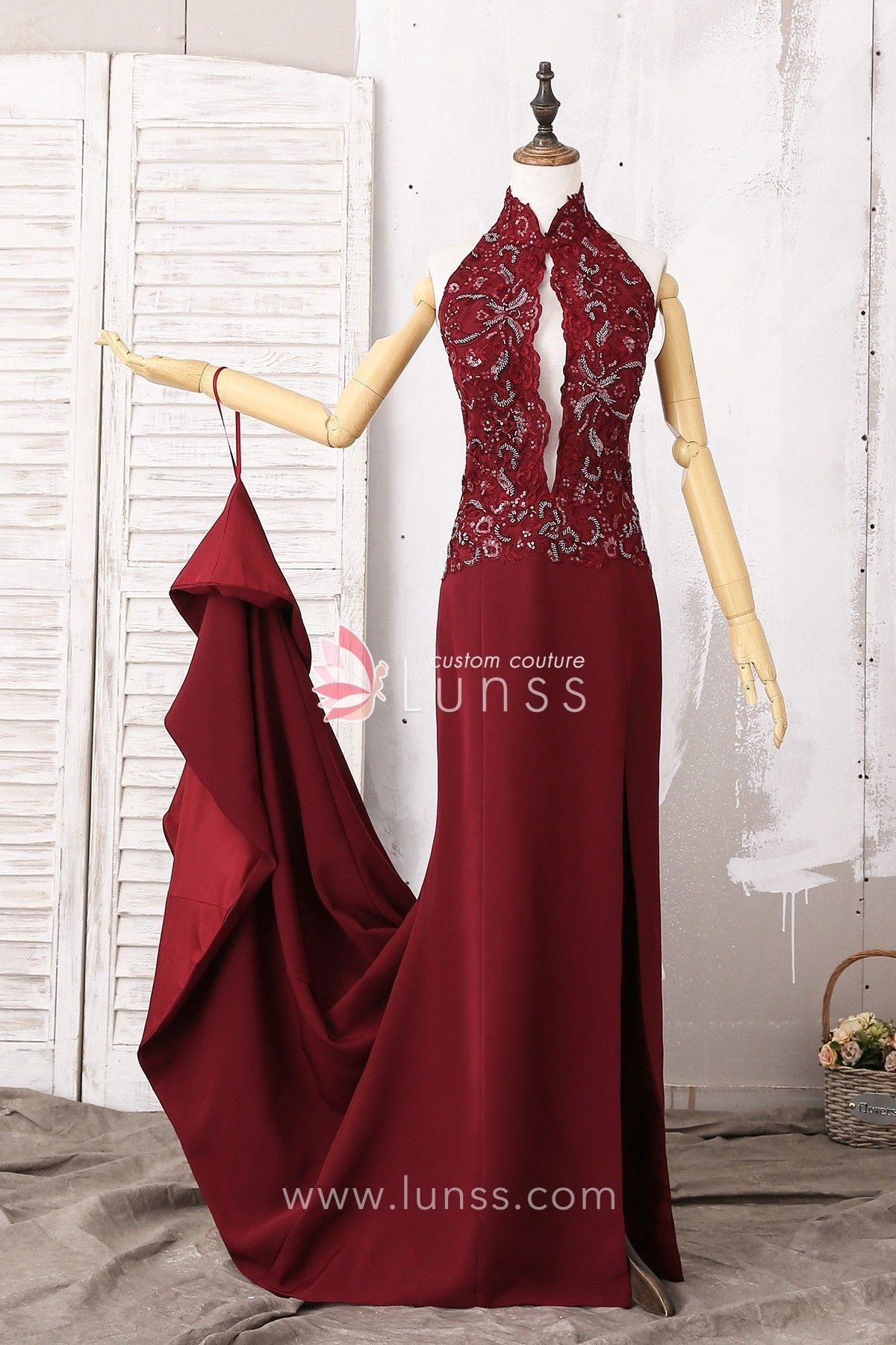 High Neck Burgundy Mermaid Beaded Lace Satin Prom Dress with Hook