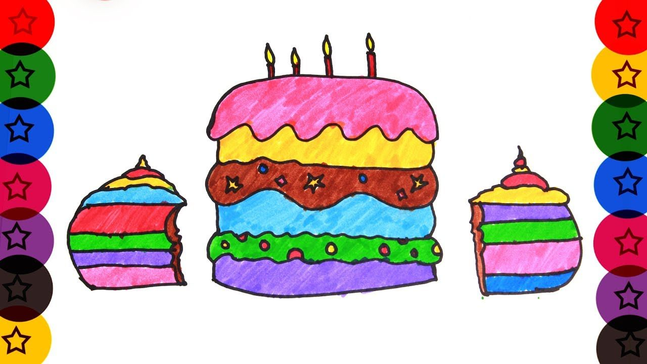 Happy Birthday Cake How To Draw Birthday Cake Learn To Draw Cake Colo Colorful Drawings Happy Birthday Cakes Drawings