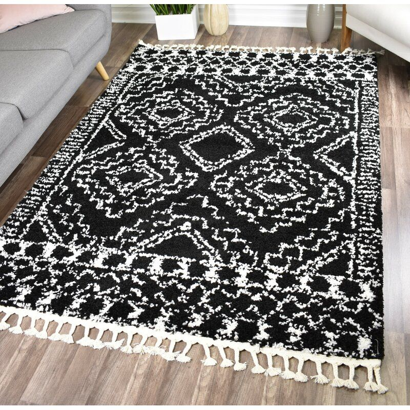 Agra Shag Black White Area Rug With Images White Area Rug
