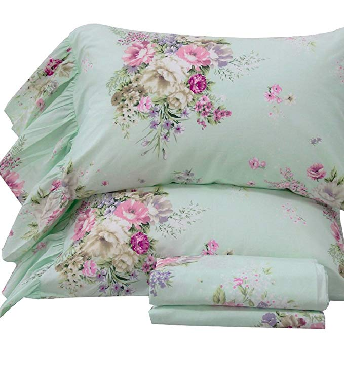 Queen's House 4Piece Shabby Green Bed Sheet