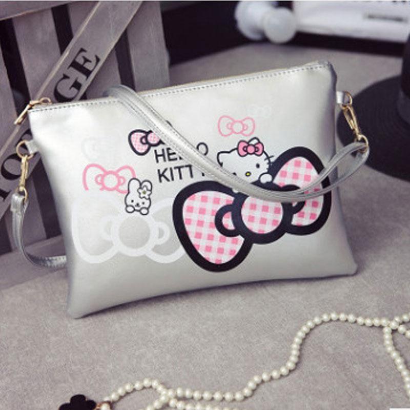 5c531fc246d3 Hello Kitty Envelope Hand Bag 2018 New Women Leather Handbags with Zipper  Mini Messenger Bag Polyester