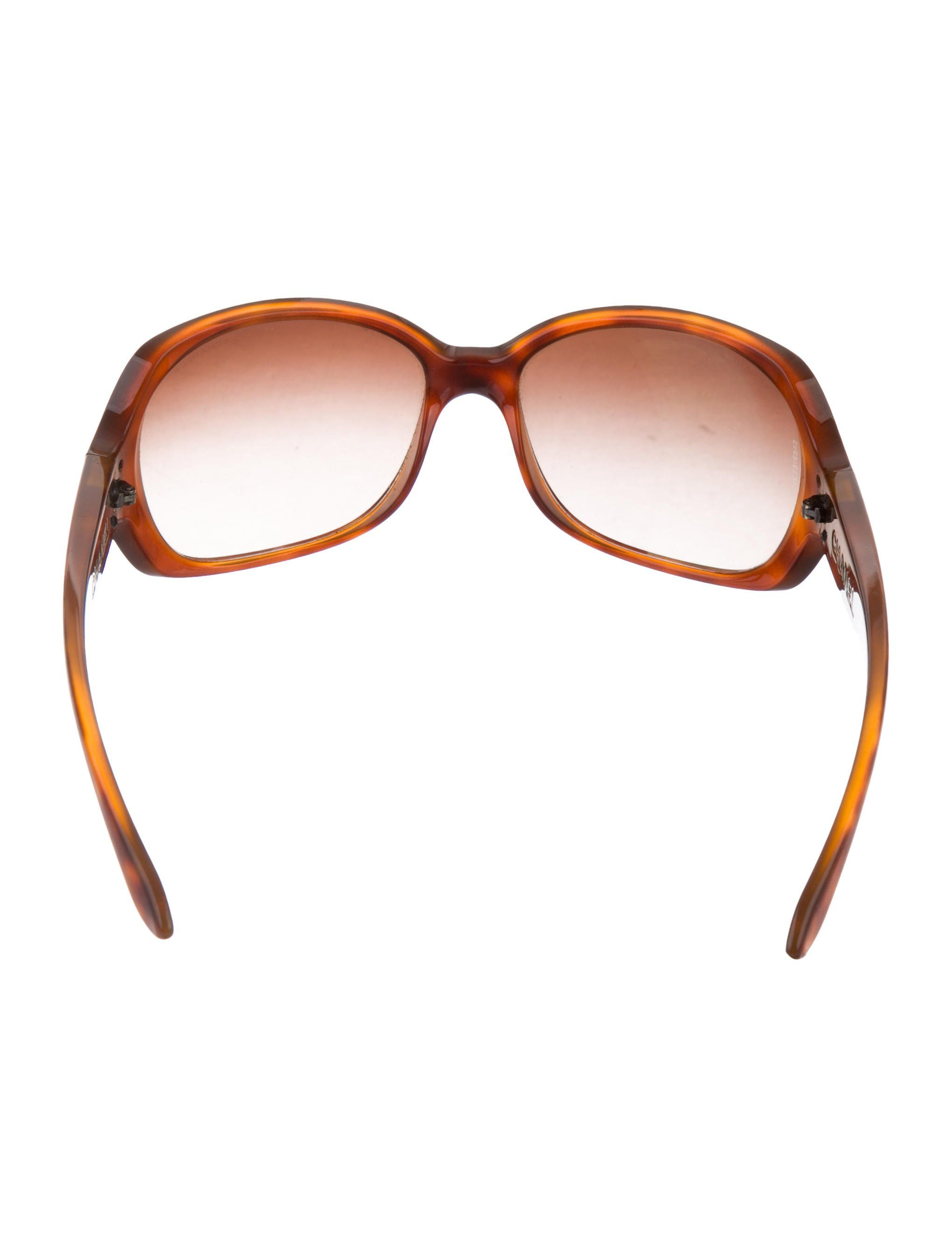 78730d298a9 Brown tortoiseshell acetate Chanel sunglasses with logo at temples and  gradient lenses.chanel acetate Chanel Brown