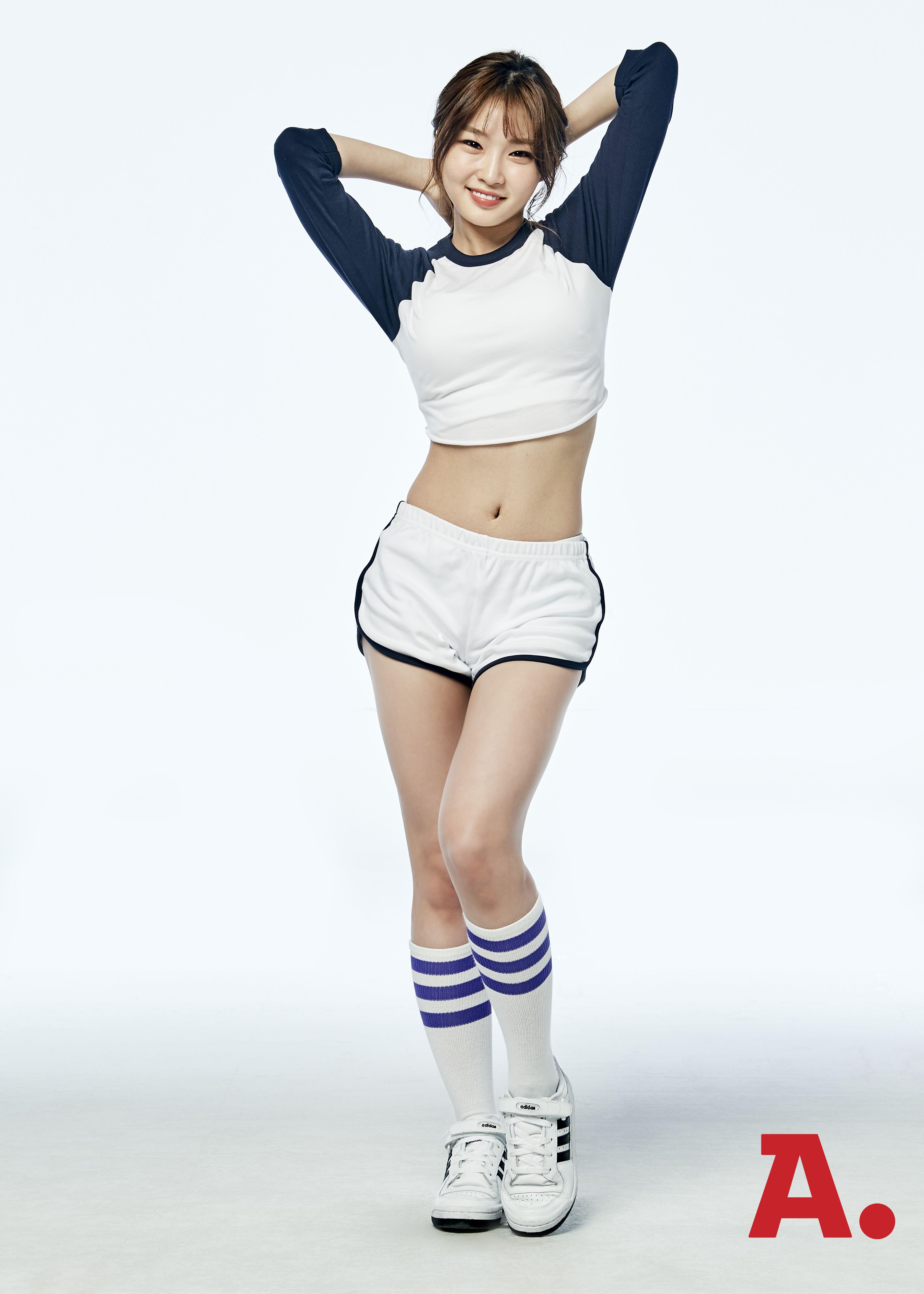 K Pop Ioi Kim Chung Ha Full Body Midriff Standing Stock