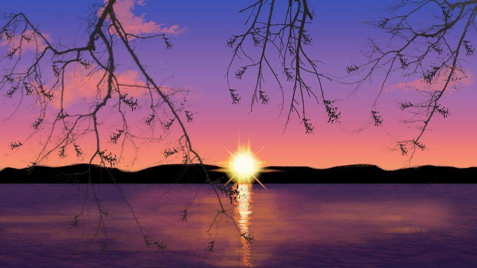 Twilight Tasik Matahari Terbenam Indah Reka Bentuk Latar Belakang Ilustrasi Fotografi Alam Gambar Latar Belakang Matahari Terbenam