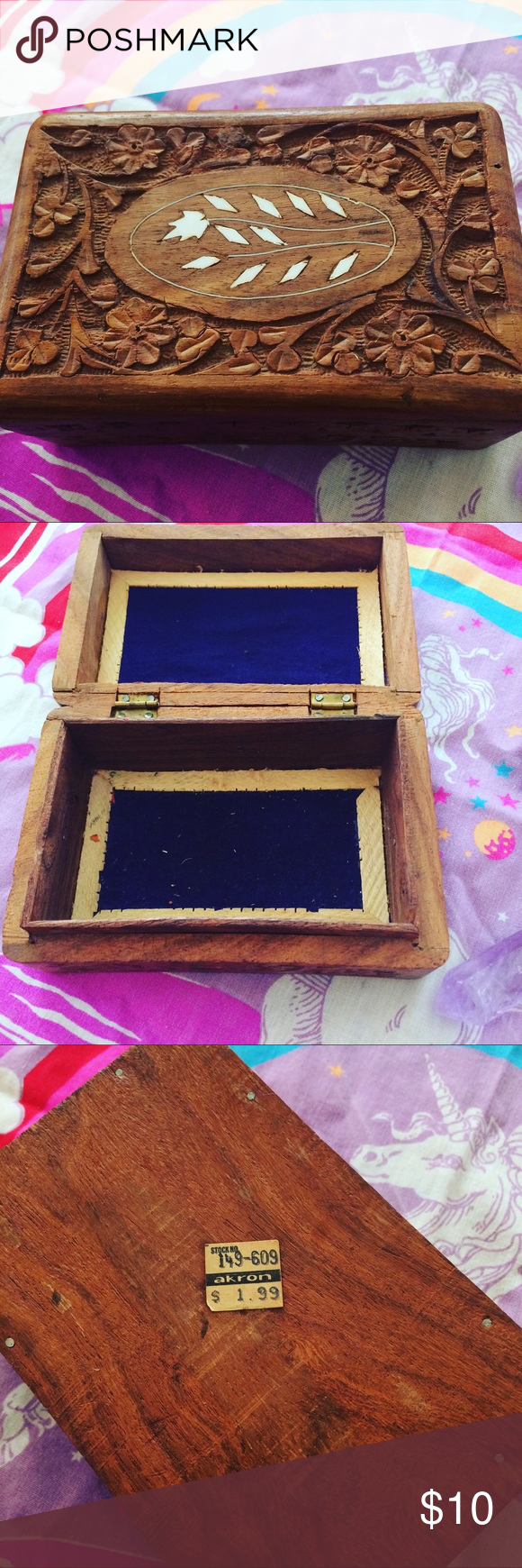 Vintage Wooden box for Tarot or trinkets Vintage wooden box to hold Tarot decks or crystals or whatever you like! Other