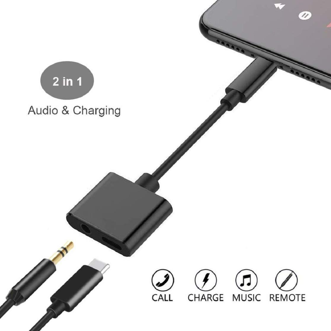 for iPhone Headphone Jack Adapter for iPhone 8//8 Plus//Xs//Xs Max//XR// 7//7 Plus Earphone Splitter for iPhone Adaptor Dongle 2 in 1 Chargers /& Aux Audio Connector Charger Cable Support All iOS System LUCO