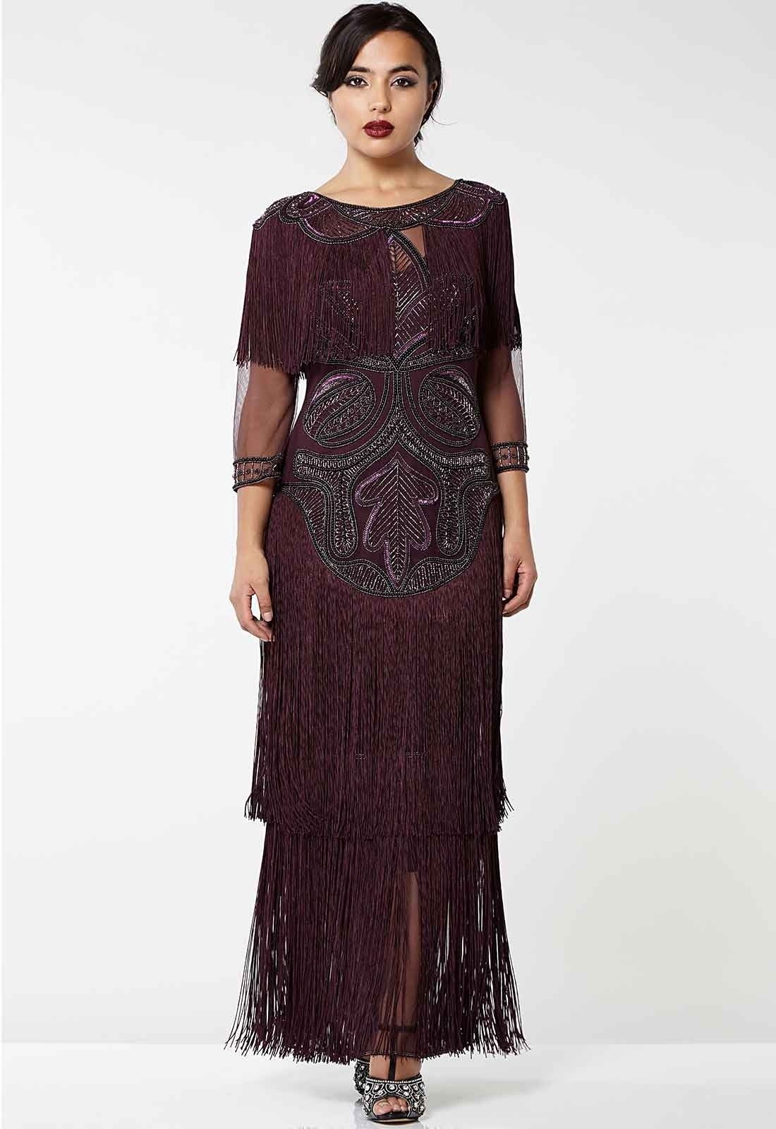 Gatsbylady glam vintage inspired fringe flapper maxi dress in plum