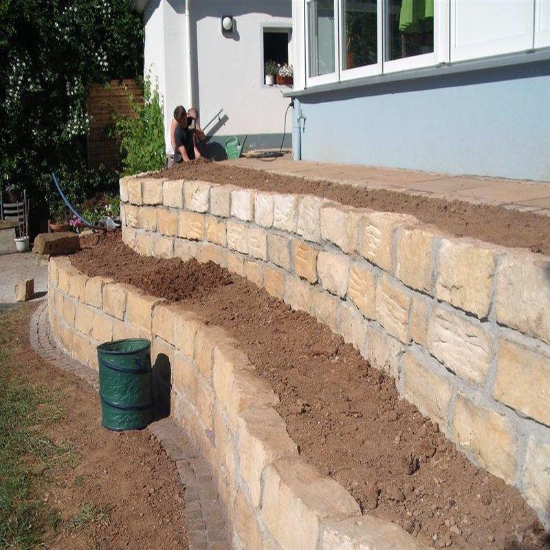 Sandstein Mauer Steine Gelb 20 x 20 cm - Natur Steine Org me - gartenbeet steine anlegen