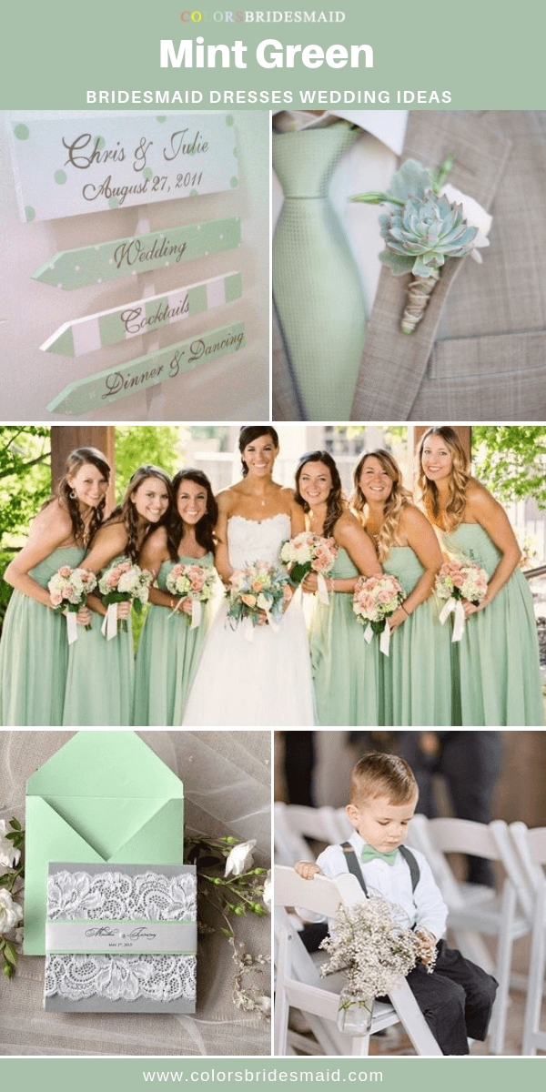 24e2e1e1257e Mint green bridesmaid dresses in 500+ styles, cheap $69-99, perfect to  flatter white bridal gown, white and light pink bouquets, mint wedding  invitations.