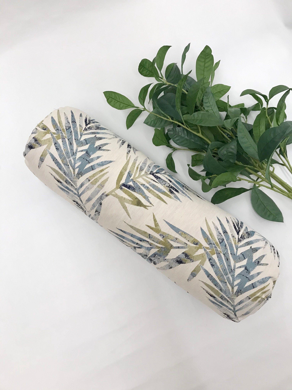 Yoga Bolster | Meditation Pillow | White Blue Green Nature Leaf Print | Round Yoga Pillow| Round Bolster | Home Yoga Prop | Yoga Practice