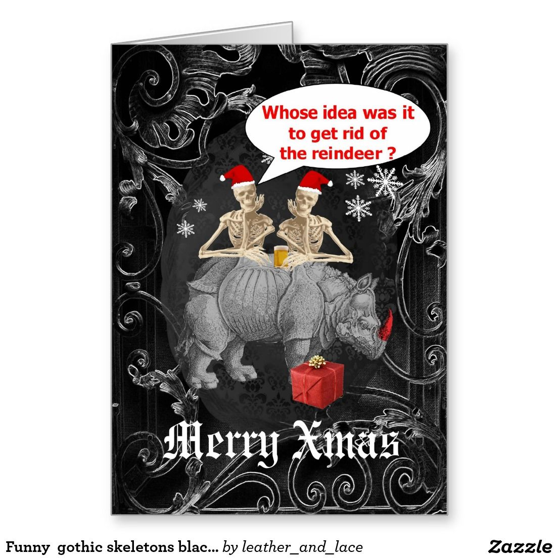 Funny gothic skeletons black Christmas Greeting Card | Gothic ...