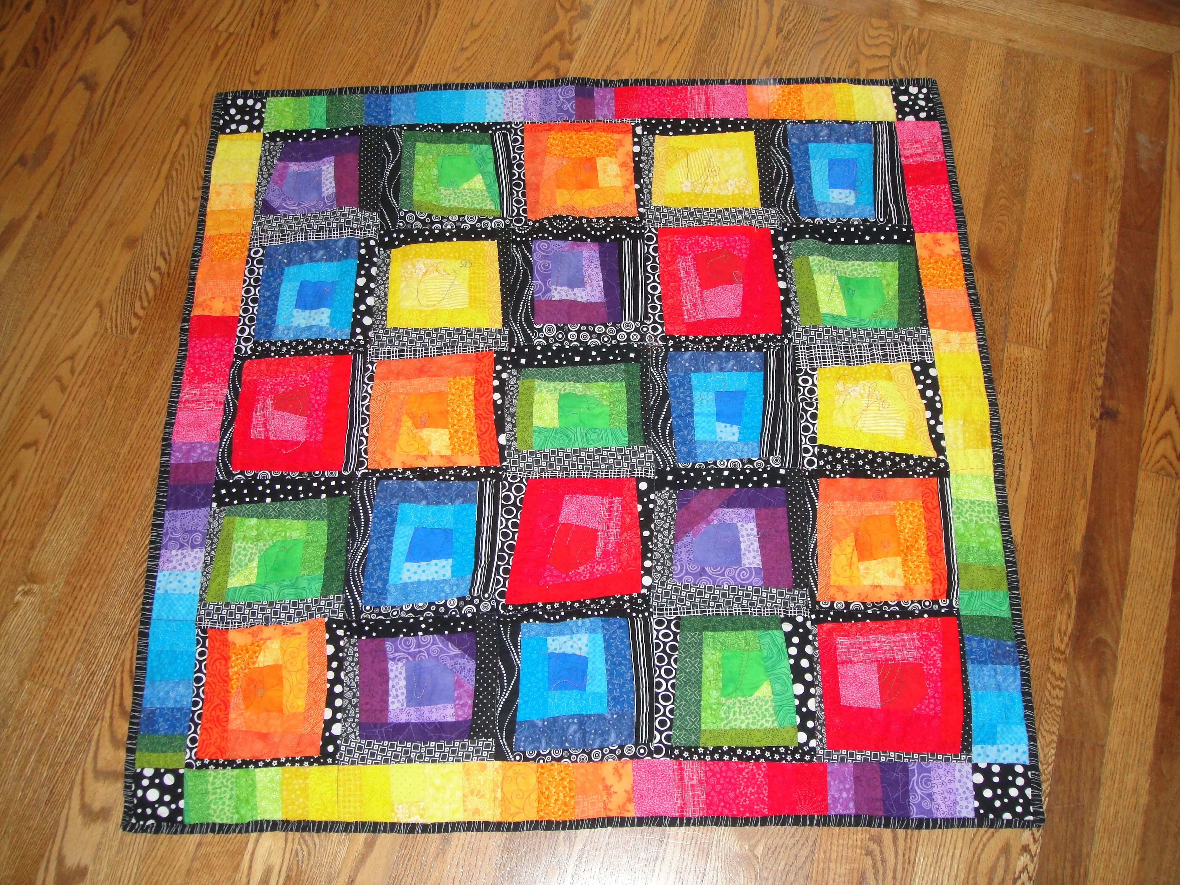 rainbow squares--sloppy log cabin style | Quilts I made ... : log cabin style quilts - Adamdwight.com