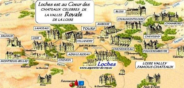 CARTE des Châteaux de la LOIRE.§§ | Chateau de la loire, Loire et Indre et loire