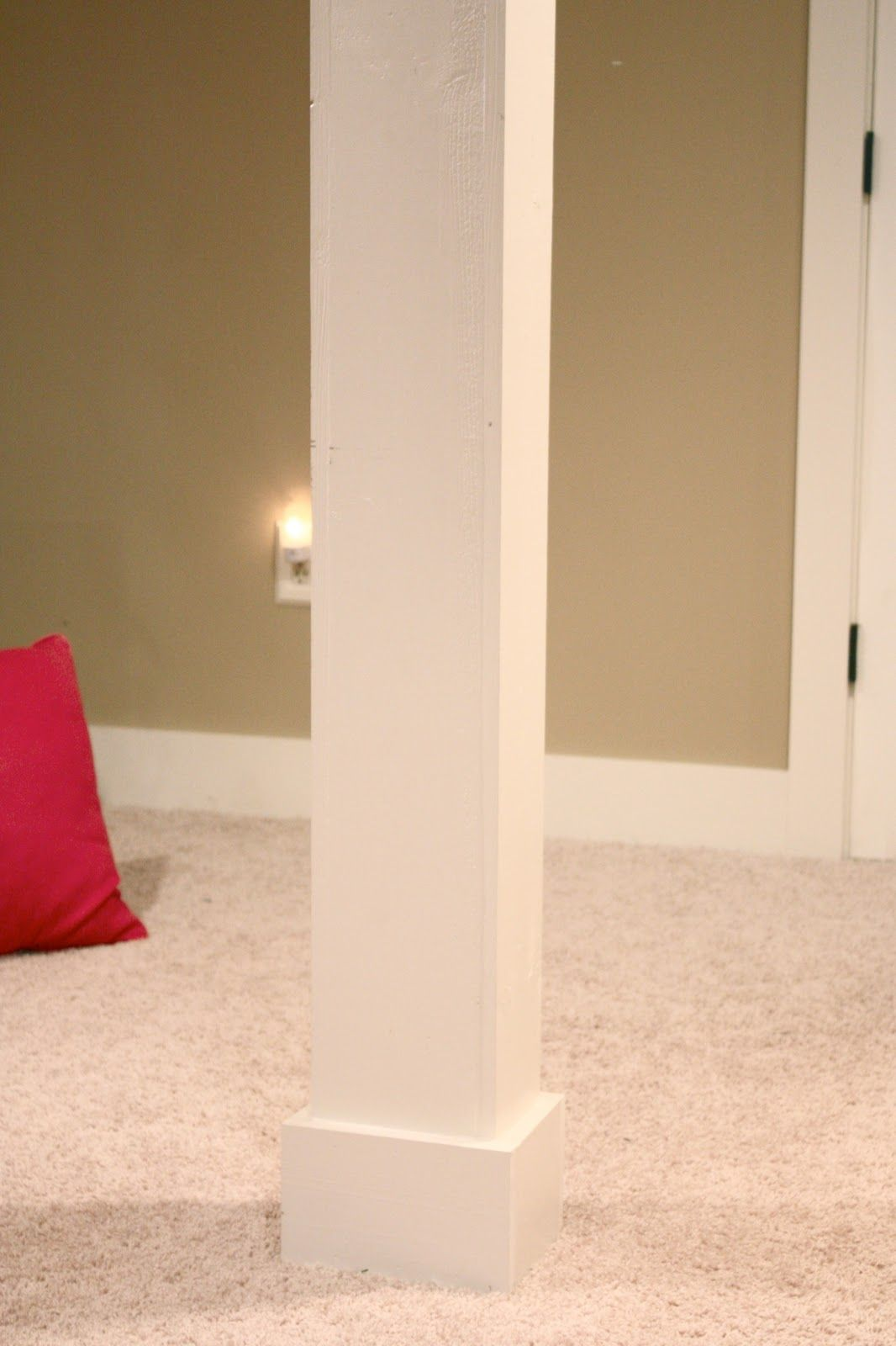 DIY Basement Poles Into Columns with pine board, molding, and paint