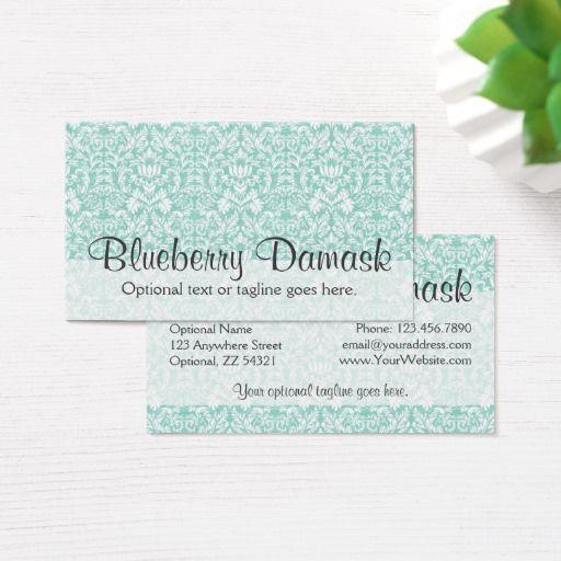 Elegant aqua flourish pattern blueberry damask business card elegant aqua flourish pattern blueberry damask business card boutique branding marketing by cyanskydesign on reheart Choice Image